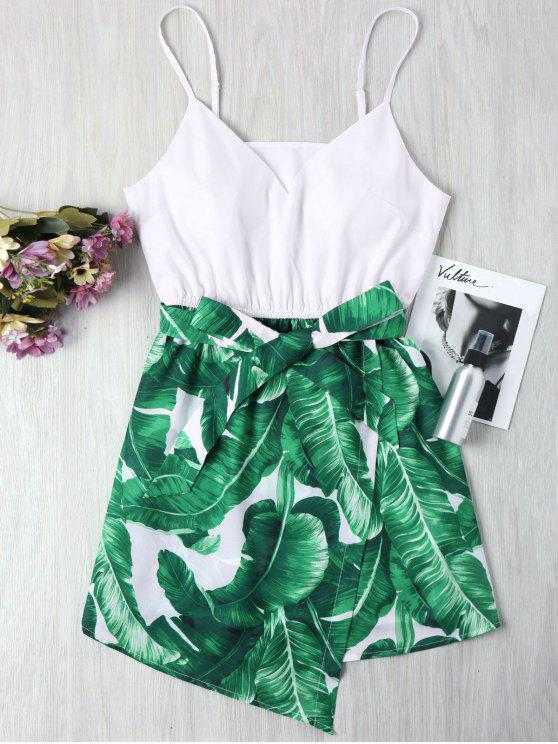 women Palm Leaf Cami Dress - GREEN S