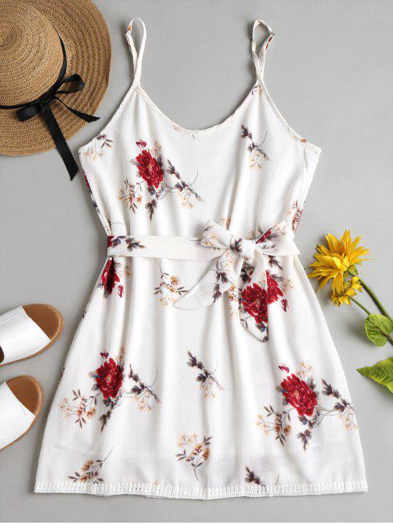 lady Floral Print Cami Mini Sun Dress - WHITE S