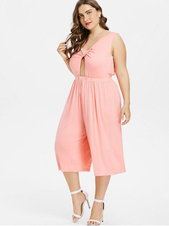 hot Backless Plus Size Wide Leg Twist Jumpsuit - PINK BUBBLEGUM 1X