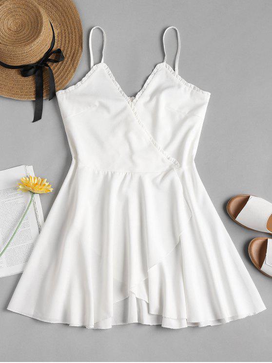 womens Surplice Overlap Cami Dress - WHITE L