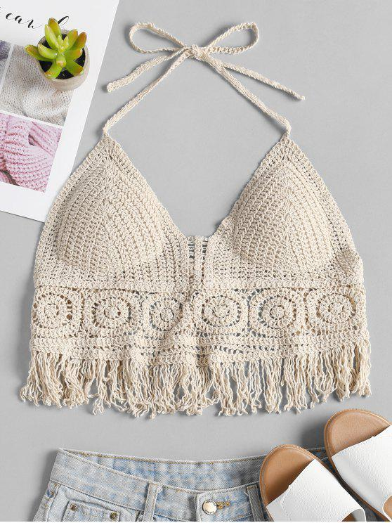 25 Off 2019 Padded Crochet Bralette Crop Top In Beige Zaful