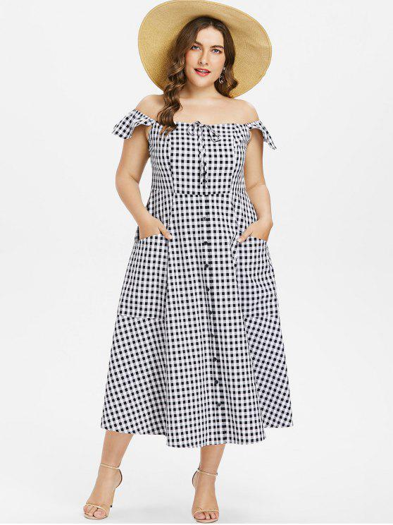 Plus Size Gingham fora do ombro vestido - Preto L