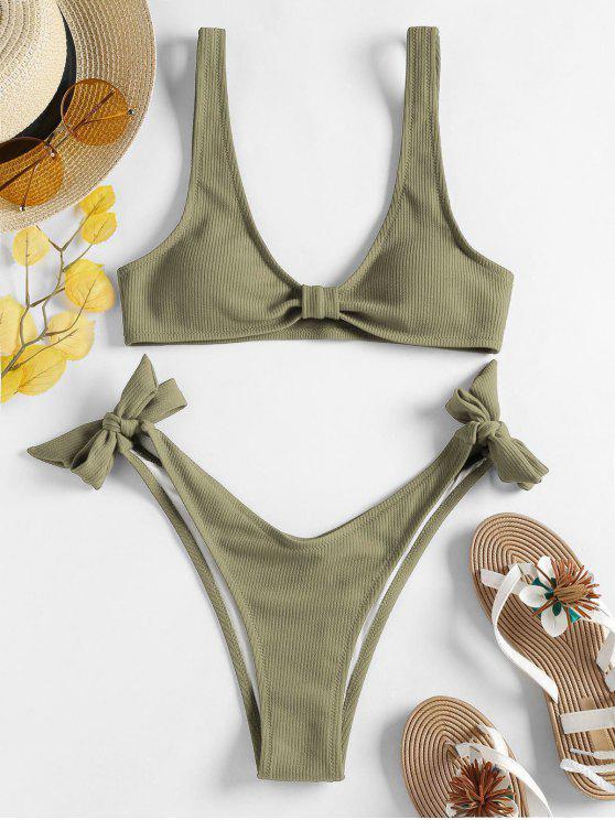 Gerippter Riemchen Seitlicher Hohes Bein Bikini Set - Leguan Grün L