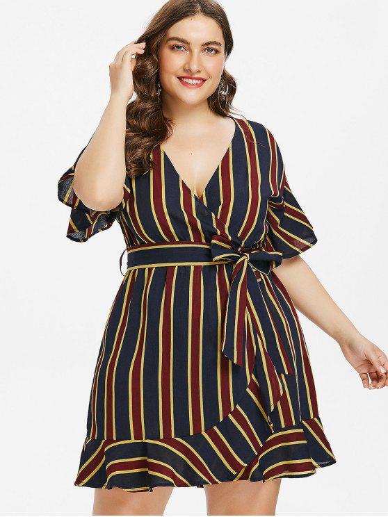 29% OFF] 2019 Plus Size Striped Belted Surplice Dress In MULTI | ZAFUL