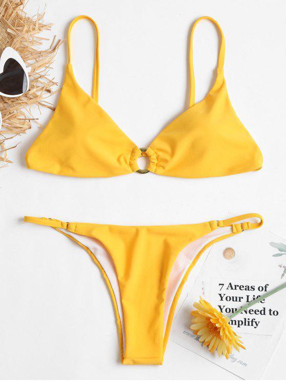 Grommet Cami String Bikini - Niedliches Gummi Gelb S