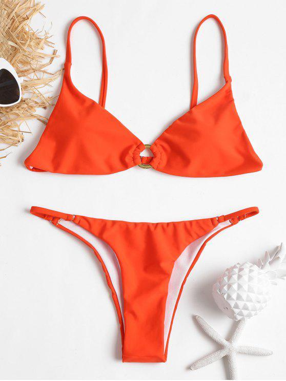 Bikini Stringato Camis Con Anello Metallico - Arancione L
