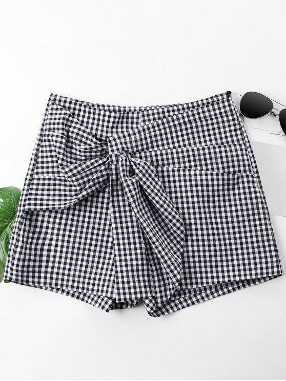 chic Ruched Gingham Shorts - BLACK M