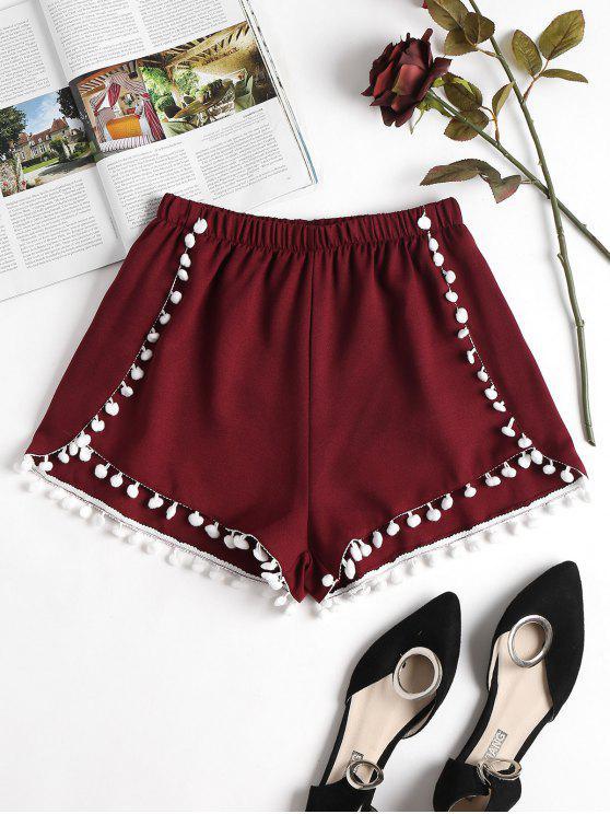 women Pompoms Hem Shorts - RED WINE S