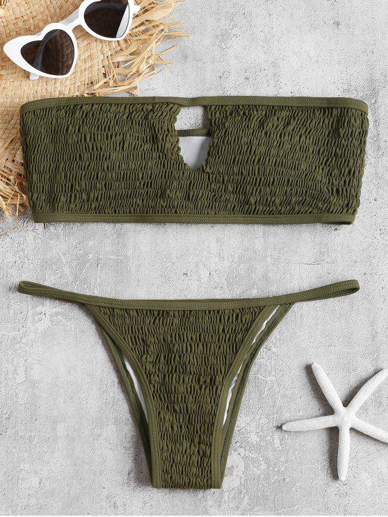 Schlüsselloch Smocked Bandeau Bikini Set - Armeegrün L