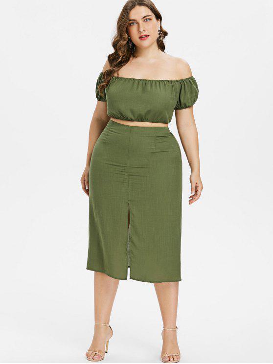 Vestito Plus Size A Due Pezzi Con Spalle Scoperte - Verde Bruno Chiaro L