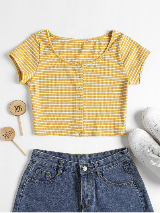 ladies Striped Ribbed Crop Top - YELLOW S
