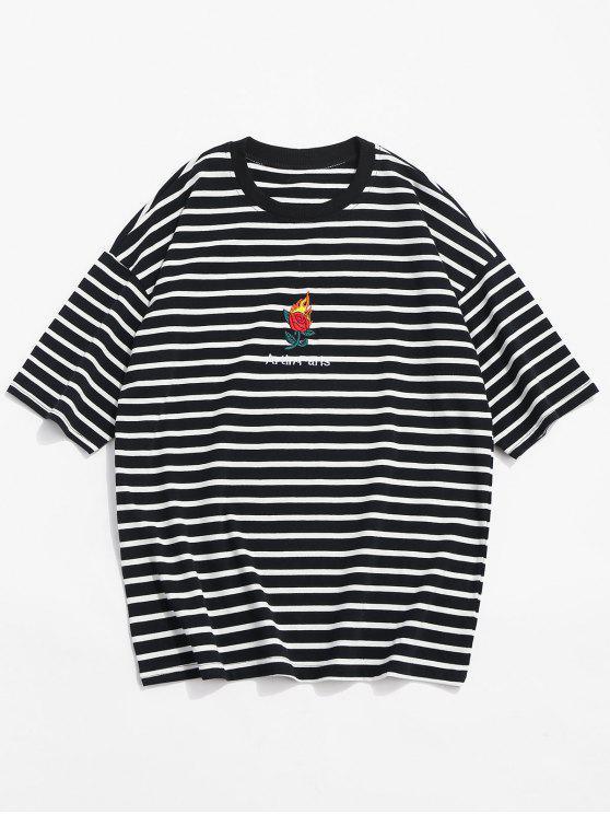 unique Stripe Drop Shoulder T-shirt - BLACK L