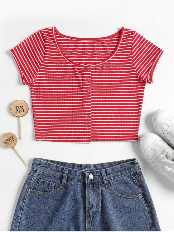 lady Striped Ribbed Crop Top - LOVE RED M
