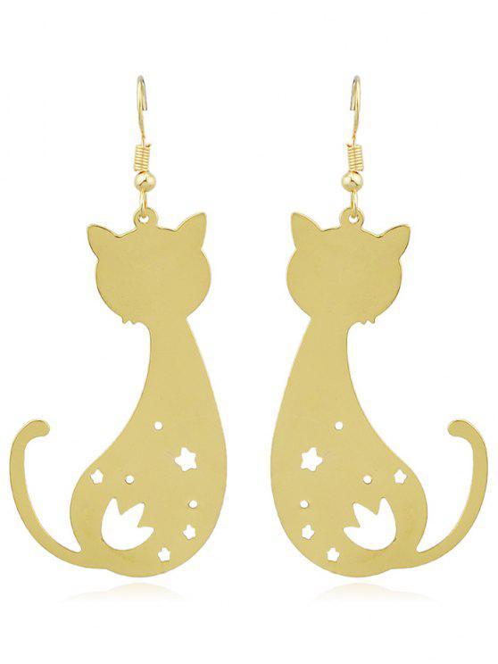 Cat Shaped Star aushöhlen hängende Ohrringe - Gold