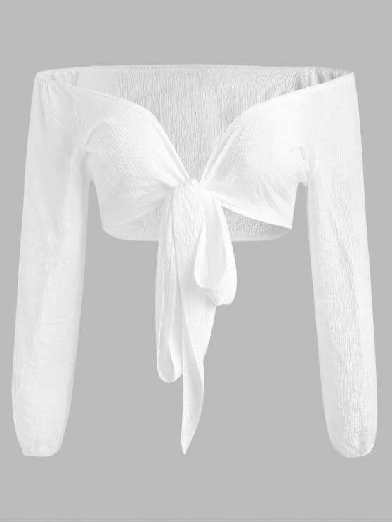 fashion Plus Size Tied Front Blouse - WHITE 2X