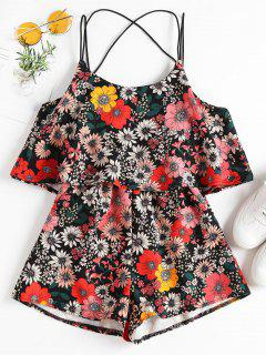 Cute Strappy Floral Overlay Romper - Black S
