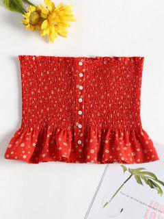Button Ruffle Smocked Bandeau Tube Top - Red S
