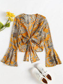Tie Front Bell Sleeve Chiffon Blouse - Orange Gold M