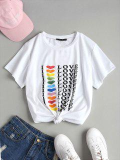 Letter Graphic T-Shirt - White M