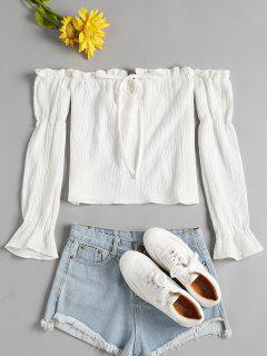 Ruffled Long Sleeve Off The Shoulder Top - White S