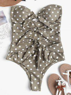 Polka Dot Knot High Cut Swimsuit - Light Khaki L