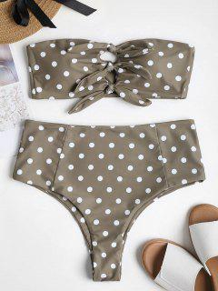 Polka Dot Knot High Cut Bikini - Light Khaki L