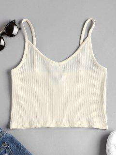 Camiseta Sin Mangas Acanalada Recortada - Blanco Cálido S