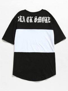 Camiseta Con Estampado De Letras En Color Block - Negro M