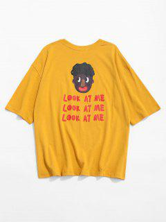 Camiseta Estampada De Manga Corta Con Estampado De La Cabeza Del Lema - Amarillo M