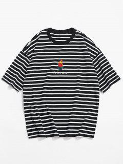 Stripe Drop Shoulder T-shirt - Black Xl