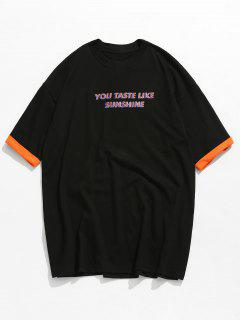 Letter Printed Dropped Shoulder T-shirt - Black M