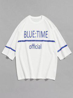 Letter Print Drop Shoulder T-shirt - White L