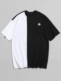 Pocket Design Contrast Color T-shirt - Black L