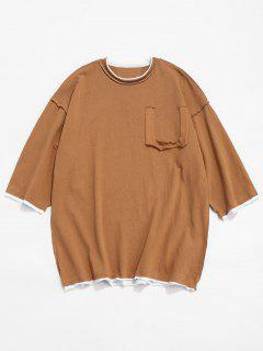 Panel Drop Shoulder Cotton T-shirt - Brown M