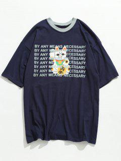 Lucky Cat With Letter Printed Tee - Lapis Blue L