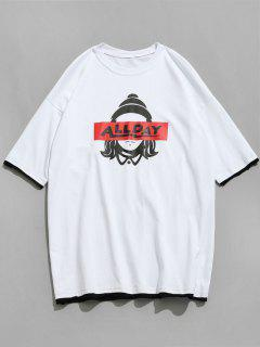 Figure Head And Letter Printed Tee - White M