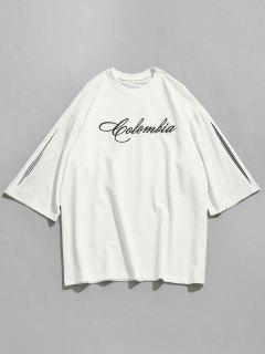Embroidery Letter Drop Shoulder Tee - White L