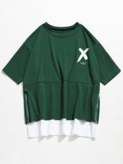 Streetwear Letter Side Zipper T-shirt - Medium Forest Green S