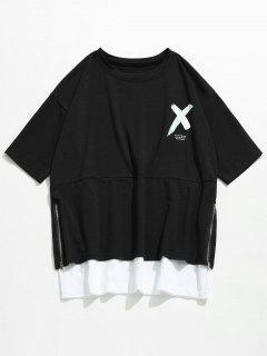 Streetwear Letter Side Zipper T-shirt - Black M