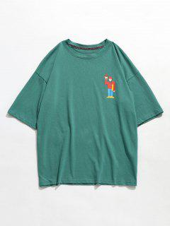 Little Cartoon Dropped Shoulder T-shirt - Pine Green L