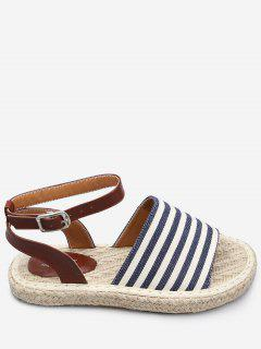 Casual Vacation Espadrille Striped Sandals - Sky Blue 40