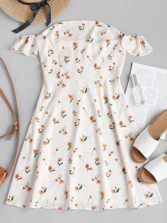 Schulterfreies Blumen A-Linie Kleid - Warmweiß M