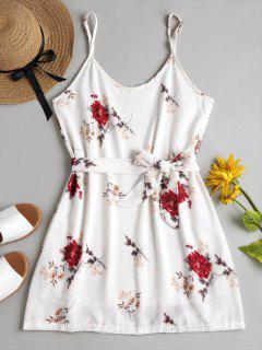 Blumen Druck Cami Mini Sonnen Kleid - Weiß M