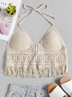 Padded Crochet Bralette Crop Top - Beige