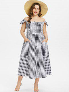 Plus Size Gingham Off Shoulder Dress - Black 2x