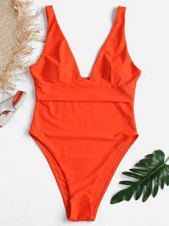 Hohes Bein Niedrige Schlitz Badeanzug - Leuchtend Orange L
