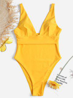 High Leg Low Cut Swimsuit - Rubber Ducky Yellow S
