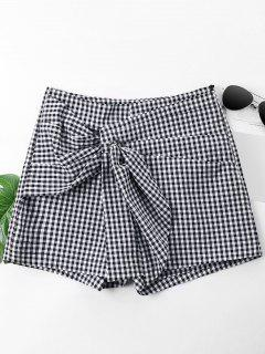 Ruched Gingham Shorts - Black S