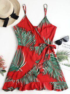 Vestido Con Estampado De Camuflaje Y Estampado De Hojas De Palma - Rojo S