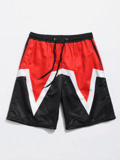 Three-pocket Elastic Waist Beach Shorts - Fire Engine Red Xl